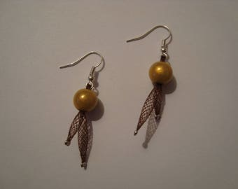 Mustard yellow and Brown earrings