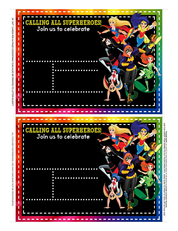 Dc Superhero Girls invitation, dc superhero Birthday, dc superhero ...