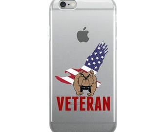 Military Veteran BullDog With American Eagle Flag iPhone Case