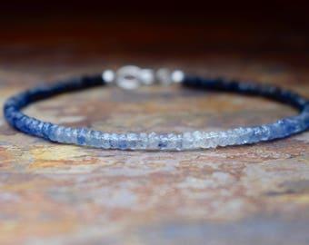 Ombre Sapphire & Sterling Silver Gemstone Bracelet, Natural Blue Sapphire Bracelet, Genuine Sapphire Jewellery, Handmade Jewelry  Wife Gift