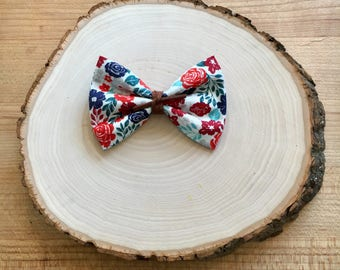 Red and Navy Floral Bow