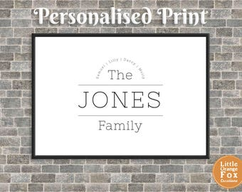 Personalised Family Name Sign | Family Picture Gift | Customised Print | Black and White Wall Art