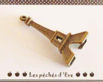 X 5 EIFFEL Tower PARIS charms bronze 48x21mm