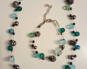 Pearl Necklace and Bracelet turquoise/green/black, handmade
