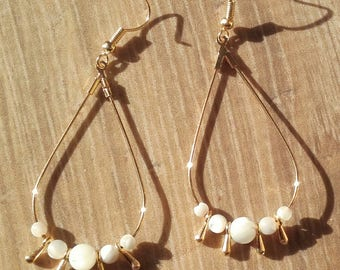 Drop earrings gold Pearl