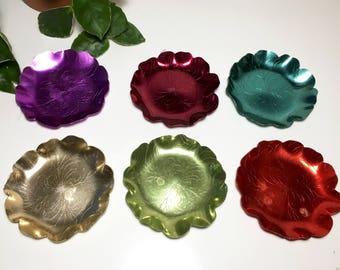 Vintage Multi-color Aluminum Coasters - Set of Six