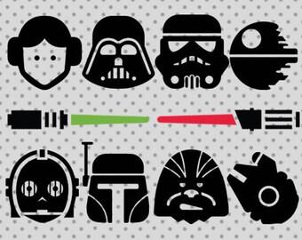 star wars SVG, dxf, png, eps, star wars cricut and silhouette cameo, darth vader svg, princess leia svg, light saber svg, c3p0 svg