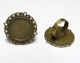 4 holders cabochon 20 mm br044 bronze color Adjustable ring
