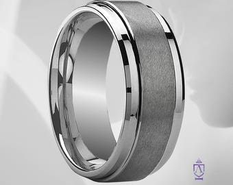 Classic Men's Brushed Tungsten Comfort Fit Wedding Ring | Basic Brushed Finish Modern 9mm Minimalist Wedding Band With Stepped Edge.