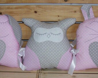 Gorgeous,handmade,pink,owl,rabbit,pillow,baby,gift,kids room,boy,baby bed protector,baby girl