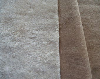 fur synthetic imitation suede beige plain with short hair and back imitation suede 7 mm thick