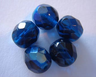 Crystal beads Bohemian faceted 8 mm indicolyte AB packs of 5 units
