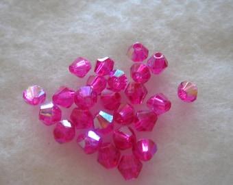 bicone pink swarovski crystal 4 mm quality AB set of 25