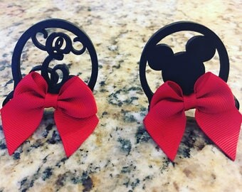 Minnie Mouse ears pigtail clips