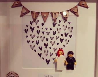 Personalised lego bride & groom wedding gift or anniversary box frame