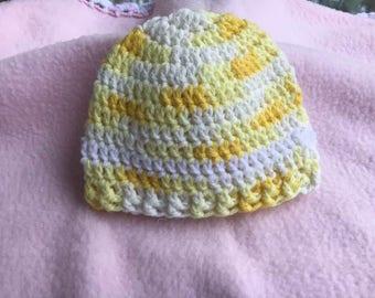 Baby  Crochet Hat multi yelow and white Beanie   newborn