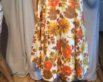 "Flowy Fall print Circle Skirt, Midi Skirt, Flare Skirt, Waist 24"" length from waistband to Hemline 29"""