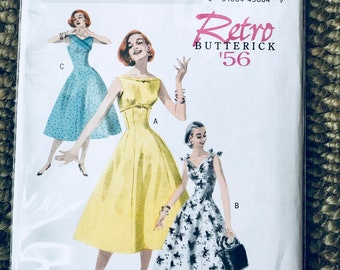 Butterick #B5603 Sz 14-20 Vintage Retro (1956) Women's Easy Sewing Pattern for Misses Fitted Dress in Three styles Bateau Neckline Bow UNCUT