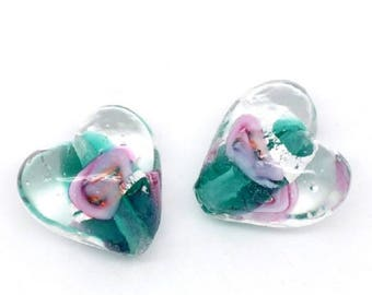 Green and pink lampwork glass bead, heart shape