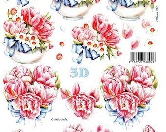 1 x sheet for decoupage 3D flowers ROSES (8215642)