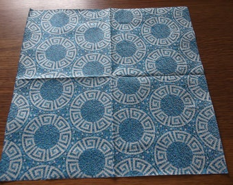 mozaic blue and white napkin