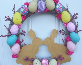 Handmade Kissing Rabbits Easter Wreath