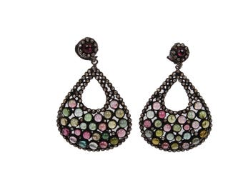 925 Solid Silver Pave Diamond Tourmaline Antique Dangling Earring
