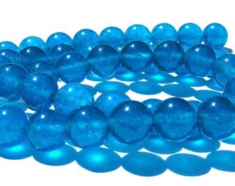 8 apatites de 8 mm perles pierre bleu azur.