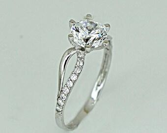 Modern Wedding Ring White Gold K14 Flower Engagement Zircon Ring