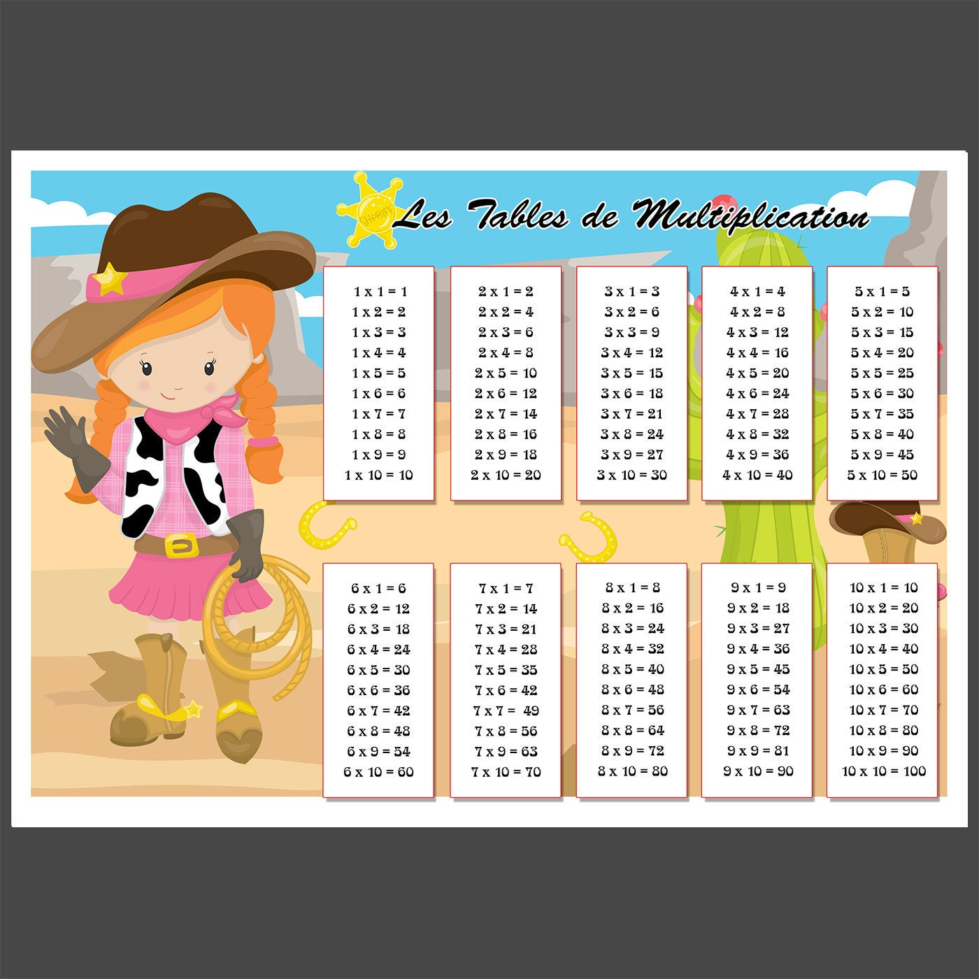 Cowboy fille sous main set de table a3 tables de for Sous main bureau fille