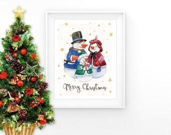 Snowman Family Art Merry Christmas Print Christmas Snowmen Wall Art Printable Kids Wall Art Christmas Nursery Winter Decor Digital Download