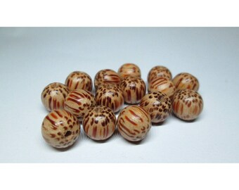 Set of 15 beads Palm wood - 8 / 9 m