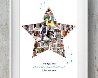 Bespoke Birthday / Birth / Family / Anniversary Star Photo Montage / Collage
