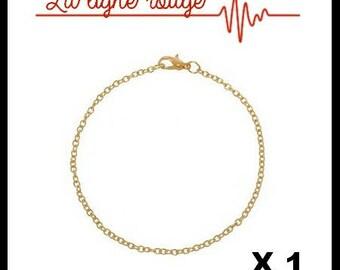 3 x 2 mm link Gold Bracelet 19 cm