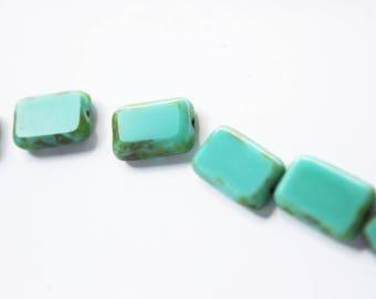 x 5 rectangle Czech glass blue beads