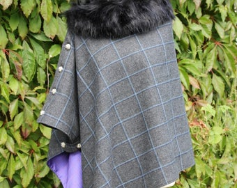 Bespoke Lovat Tweed Cape/Poncho/Wrap with detachable faux fur collar