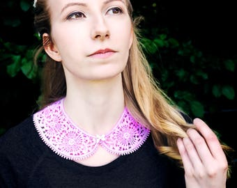 "Lace collar ""Luis"" with pearls made with Plauen lace / Plauen lace collar ""Luis"" with beads"
