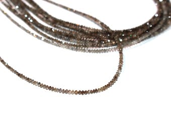 """Brown Diamond 1.5mm - 2mm Faceted Rondelle Beads, 16"""" strand of Natural Light Brown Diamonds, Faceted, and Drilled"""