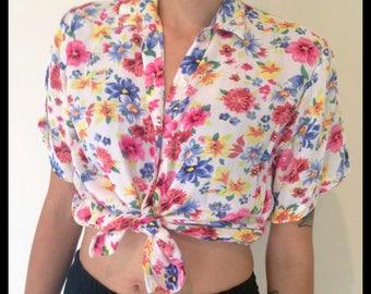 Vintage button up crop shirt