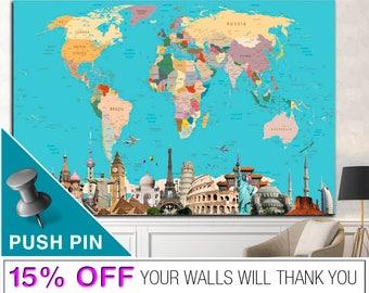 Push Pin World Map, World Map Wall Art, PushPin World Map, Word Map Canvas, World Map Push Pin, World Map Print, World Map, Map Canvas