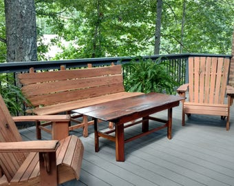 Hand Crafted 5 Piece Reclaimed Redwood Patio Furniture Set