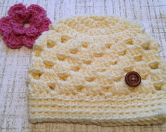 Crochet Hat with Interchangeable Flower Add-Ons - Cream or White - Infant to Child Sizes