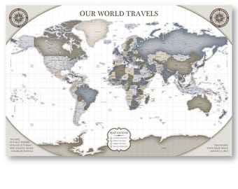 World map wall art canvas a world wall map large world map for world map wall decor large world travel tracker map with pins world map travel tracker pins gumiabroncs Images