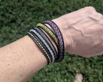 Five wrap black leather bracelet