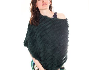 Sumptuous Women's Handmade Rabbit Fur Shawl | Cape | Poncho | Scarf | Forest Green | Exquisitely Soft | Fantastic Gift |