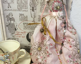 Hand Made Doll , one of a kind, bespoke , collectibles, vintage textiles, gift
