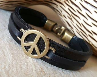 Gift for Boyfriend Peace Symbol Man Leather Bracelet Mens Leather Bracelet for him