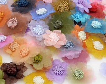 10 random colors organza deco appliqué flowers size 3 to 4cm