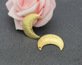 x 4 Moon brass gold frosted 23 x 18 mm BD80