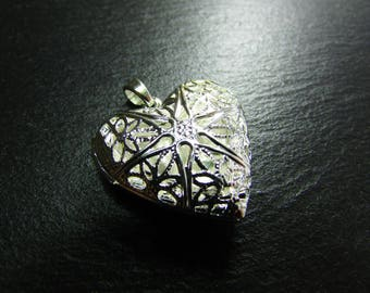 925 sterling silver openwork heart Pendant 1 photo holder